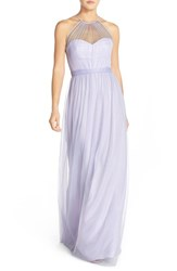 Women's Amsale 'Aliki' Illusion Yoke Tulle Halter Gown Lilac