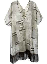 Forte Forte Printed Fringe Detail Tunic Nude And Neutrals