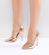 London Rebel Wide Fit Pointed High Heels Rose Gold