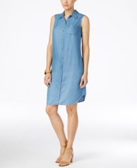 Styleandco. Style And Co. Sleeveless Denim Shirtdress Only At Macy's Sun Wash