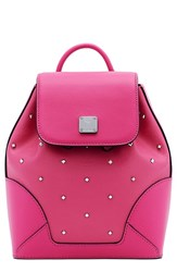 Mcm 'Mini Claudia' Studded Coated Canvas Backpack Pink Beetroot Pink