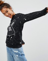Mini Cream Sweatshirt With Bunny Eyes In Galaxy Print Bkx Black