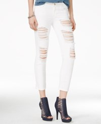 Guess Ripped Ordeal White Wash Cropped Skinny Jeans Ordeal White Heavy Destory Wash
