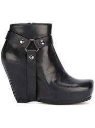 Rick Owens Harness Wedge Ankle Boots Black