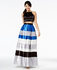 Teeze Me Juniors' Two Piece Colorblocked Lace Up Dress A Macy's Exclusive Style Black Royal White Grey
