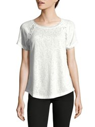 Ellen Tracy Lace Insert Tee White