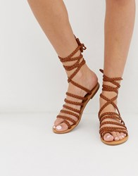 London Rebel Plaited Toe Loop Sandals Tan