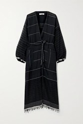Lemlem Tikuri Embroidered Cotton Voile Robe Black