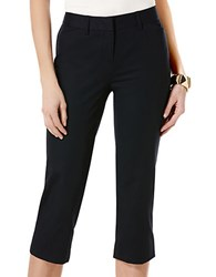 Rafaella Petite Solid Double Weave Curvy Capri Pants Midnight Navy