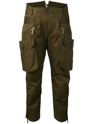Dsquared2 Cropped Cargo Trousers Women Cotton 36 Green