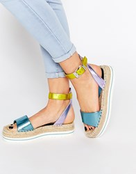 Love Moschino Metallic Espadrille Sandals Pastel Metallic Multi