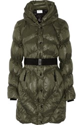 W118 By Walter Baker Vera Belted Quilted Shell Coat Army Green