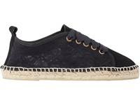 Manebi Women's Lace And Suede Espadrilles Black