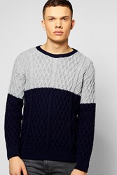 Boohoo Contrast Cable Knit Crew Neck Jumper Navy