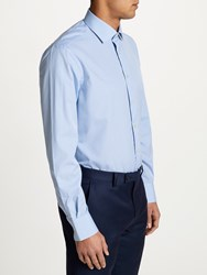 Smyth And Gibson Non Iron Cotton Poplin Gingham Contemporary Fit Shirt Sky