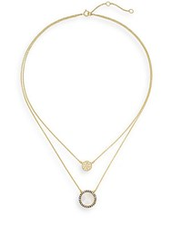 Freida Rothman Mother Of Pearl And White Stone Double Pendant Necklace Gold