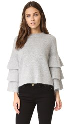 Endless Rose Ruffle Sleeve Top Grey