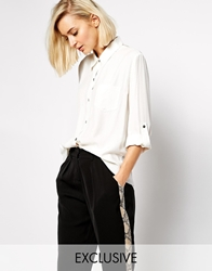 Goldie Sheerness Blouse With Sheer Back White