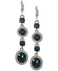 Givenchy Faceted Stone And Crystal Long Linear Drop Earrings Navy Blue