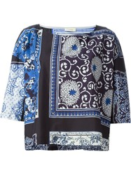 Wunderkind Scarf Print Top Blue