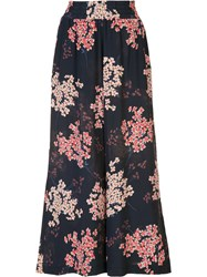 Rebecca Taylor Floral Print Cropped Trousers Blue