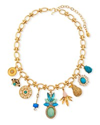 Sequin Multi Charm Necklace W Crystals Turquoise