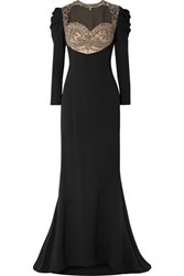 Reem Acra Embellished Tulle And Silk Cady Gown Black