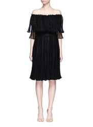 Alexander Mcqueen Ruffle Netted Mesh Off Shoulder Dress Black