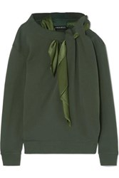 Y Project Satin Trimmed Cotton Jersey Sweatshirt Army Green