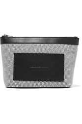 Alexander Wang Leather Trimmed Woven Canvas Pouch Gray