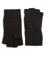 Portolano Solid Knit Cashmere Gloves Black