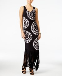 Inc International Concepts Petite Tie Dyed Fringe Maxi Dress Only At Macy's Deep Black