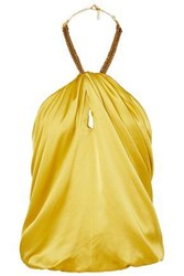 Haney Woman Claudia Embellished Silk Satin Halterneck Top Yellow