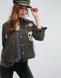 Mango Cropped Badge Detail Military Jacket Khaki Green