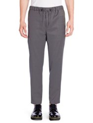 Emporio Armani Solid Virgin Wool Trousers Grey