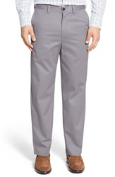 Nordstrom Men's Big And Tall Men's Shop 'Classic' Smartcare Tm Relaxed Fit Flat Front Cotton Pants Grey Filigree