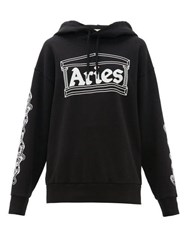 Aries Logo Print Cotton Hooded Sweatshirt Black