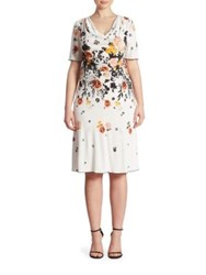 Stizzoli Plus Size Floral Printed Cowlneck Dress White Multicolor