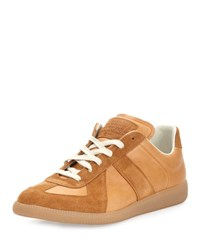 Maison Martin Margiela Men's Replica Suede And Leather Low Top Sneaker Natural Red