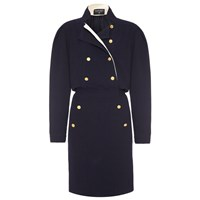 Chanel Vintage 1980S Navy Crepe Dress With Gold Buttons