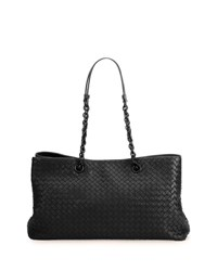 Bottega Veneta Intrecciato Double Chain Tote Bag Black