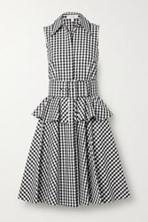 Michael Kors Collection Belted Gingham Cotton Poplin Peplum Shirt Dress Black