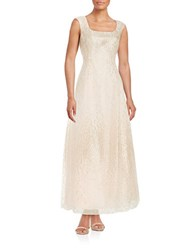 Kay Unger Patterned Silk Blend Gown Champagne
