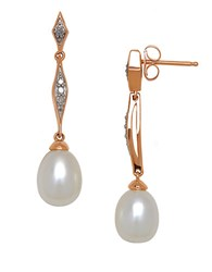 Lord And Taylor 9Mm Freshwater Pearl Diamond 14K White Gold Linear Drop Earrings