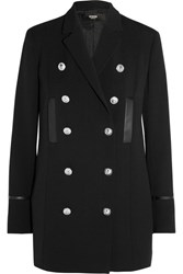 Versus By Versace Double Breasted Leather Trimmed Wool Jacket Black