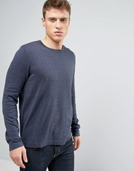 Asos Crew Neck Jumper In Relaxed Fit Navy Grey Twist