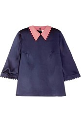 Roksanda Ilincic Silk Seersucker Top Midnight Blue