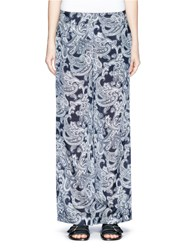 Acne Studios 'Tennessee' Paisley Print Wide Leg Pants Blue
