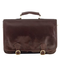 Maxwell Scott Bags Luxury Italian Leather Men's Satchel Briefcase Jesolo Dark Chocolate Brown