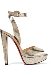 Christian Louboutin Louloudancing Metallic Leather Platform Sandals Gold